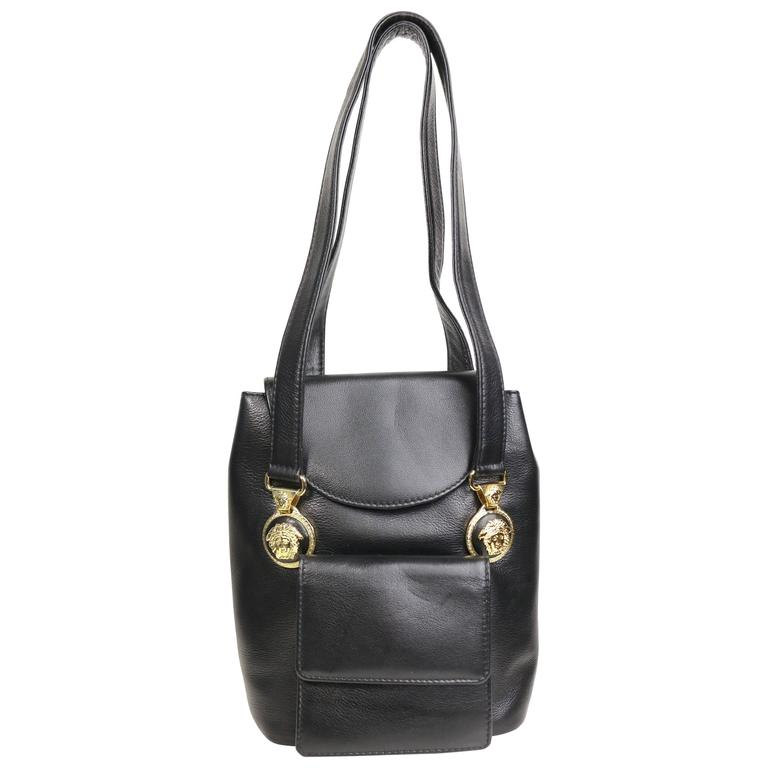 ece2fc1c7e28 Gianni Versace Black Leather Medusa Mini Handbag For Sale at 1stdibs