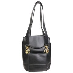 90s Gianni Versace Black Leather Medusa Mini Handbag