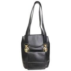 90s Gianni Versace Black Leather Medusa Mini Handbag