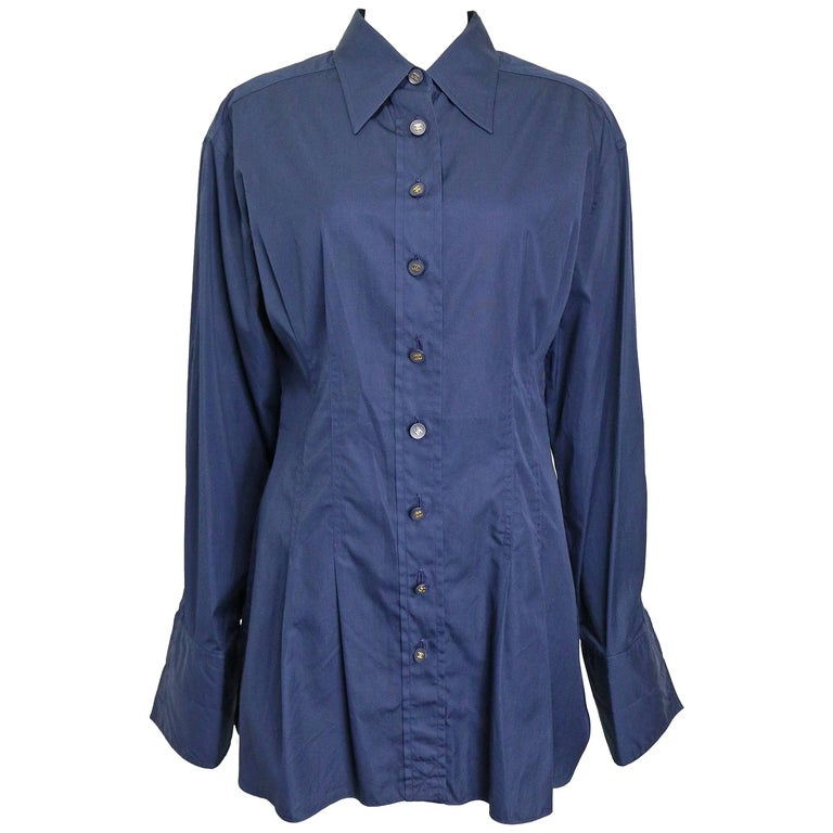 Chanel Navy Cotton Collar Shirt with Cuff  For Sale