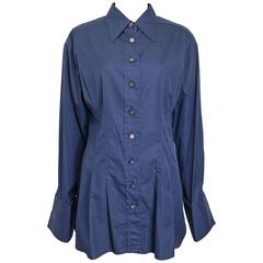 Chanel Navy Cotton Collar Shirt with Cuff