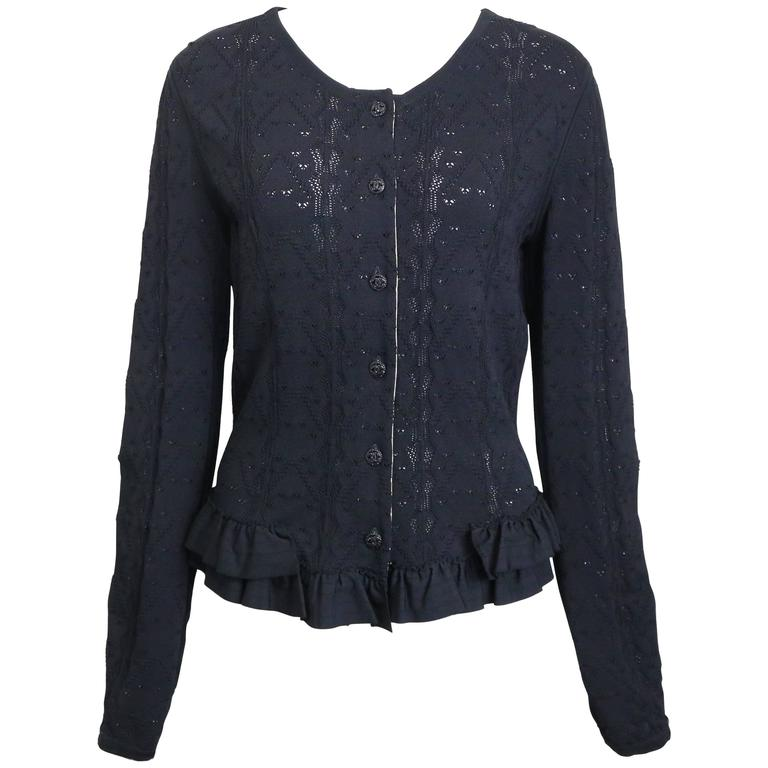 Chanel Black Crochet Knit and Ruffle Bottom Cardigan  For Sale