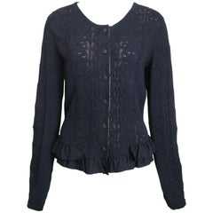 2008 Chanel Black Crochet Knit and Ruffle Bottom Cardigan