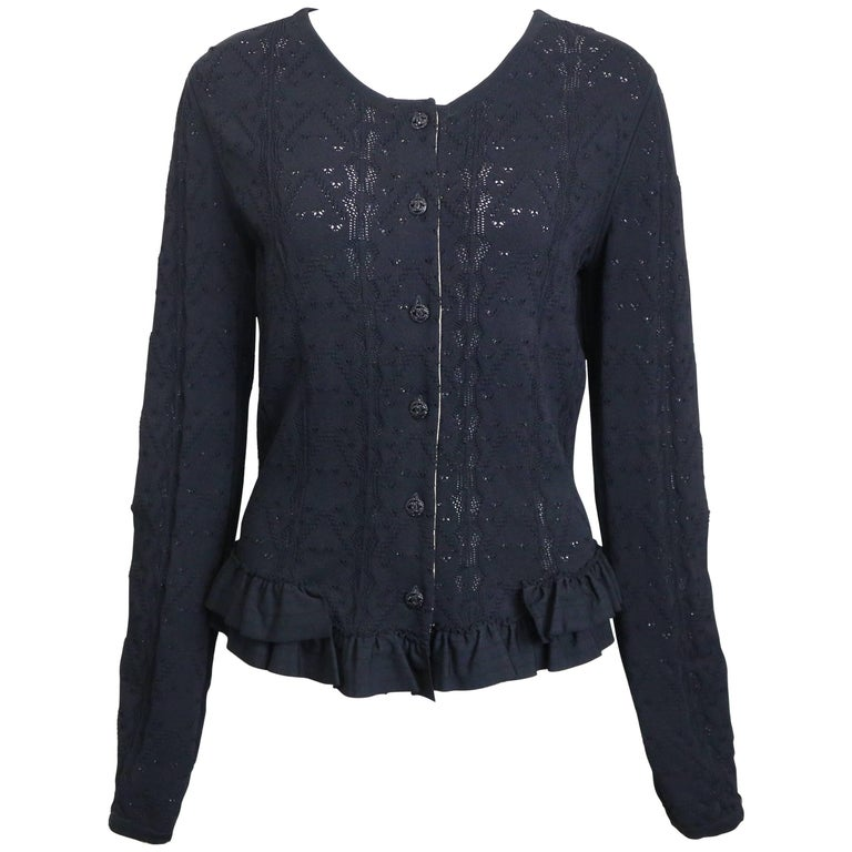 2008 Chanel Black Crochet Knit and Ruffle Bottom Cardigan  For Sale