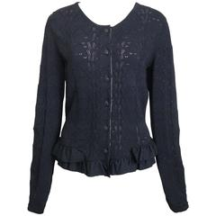 Chanel Black Crochet Knit and Ruffle Bottom Cardigan