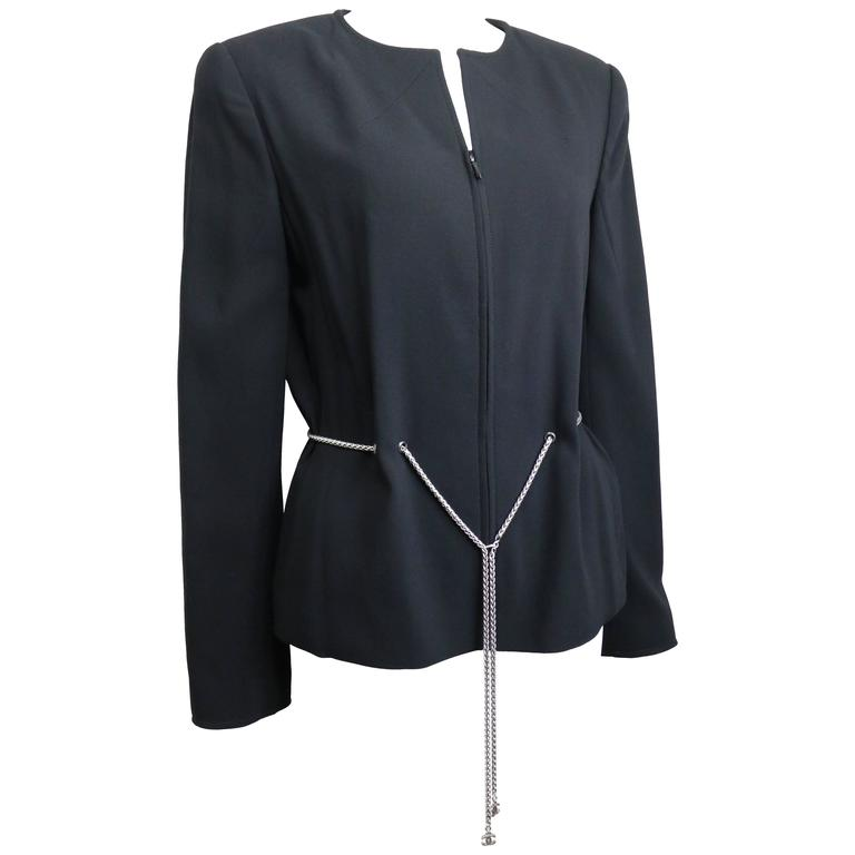Chanel Black Wool Waist Chain Collarless Jacket