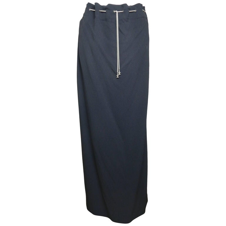 Chanel Black Long Skirt with Silver Chain Waist 1