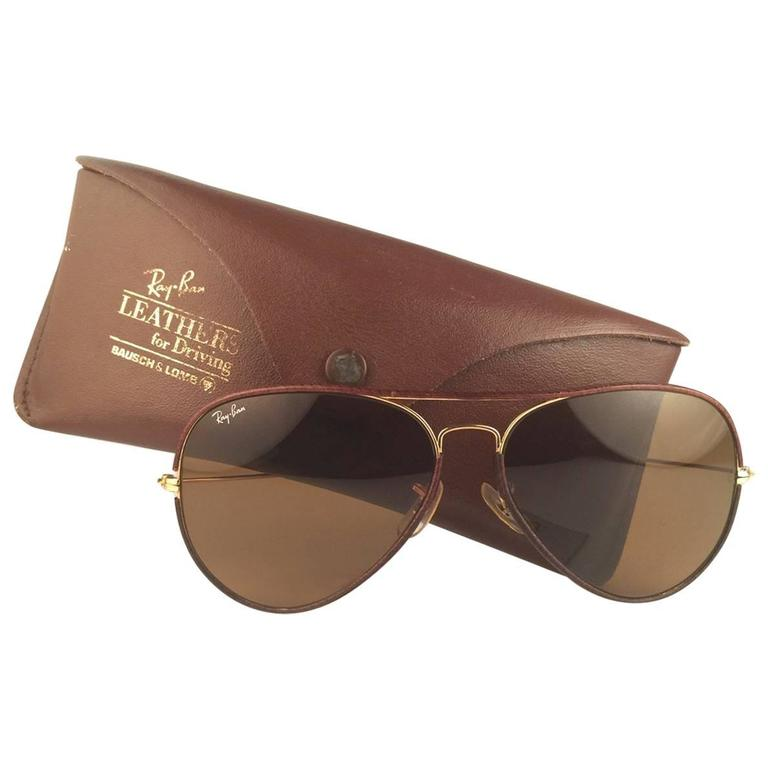 ac6e2f9cc2b18 New Vintage Ray Ban Leathers Aviator Tobacco Brown 62Mm B L Sunglasses For  Sale