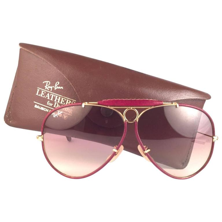 New Vintage Ray Ban Leathers Shooter Burgundy 62Mm B&L Sunglasses 1