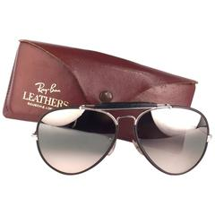 New Vintage Ray Ban Leathers Black Outdoorsman 62Mm B&L Sunglasses