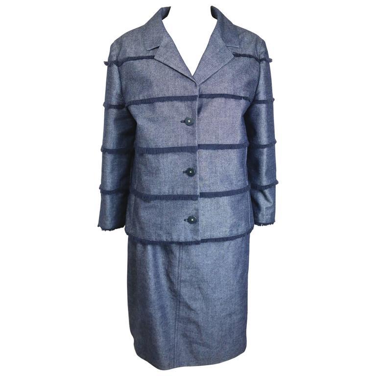Chanel Blue Denim with Raw Edge Fringe Jacket and Skirt Ensemble