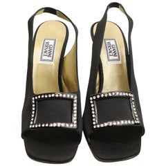 Vintage 90s Gianni Versace Black Satin Open Toe Slingback with Rhinestones