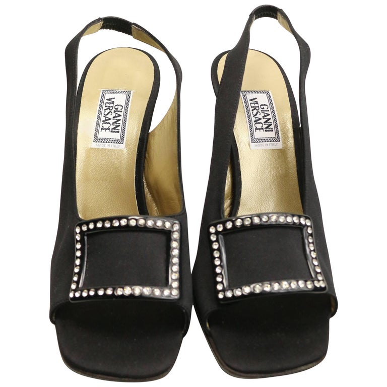 Vintage 90s Gianni Versace Black Satin Open Toe Slingback with Rhinestones  For Sale