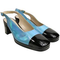 Chanel Bi Tone Metallic Blue with Black Patent Square Toe Mary Jane Slingback