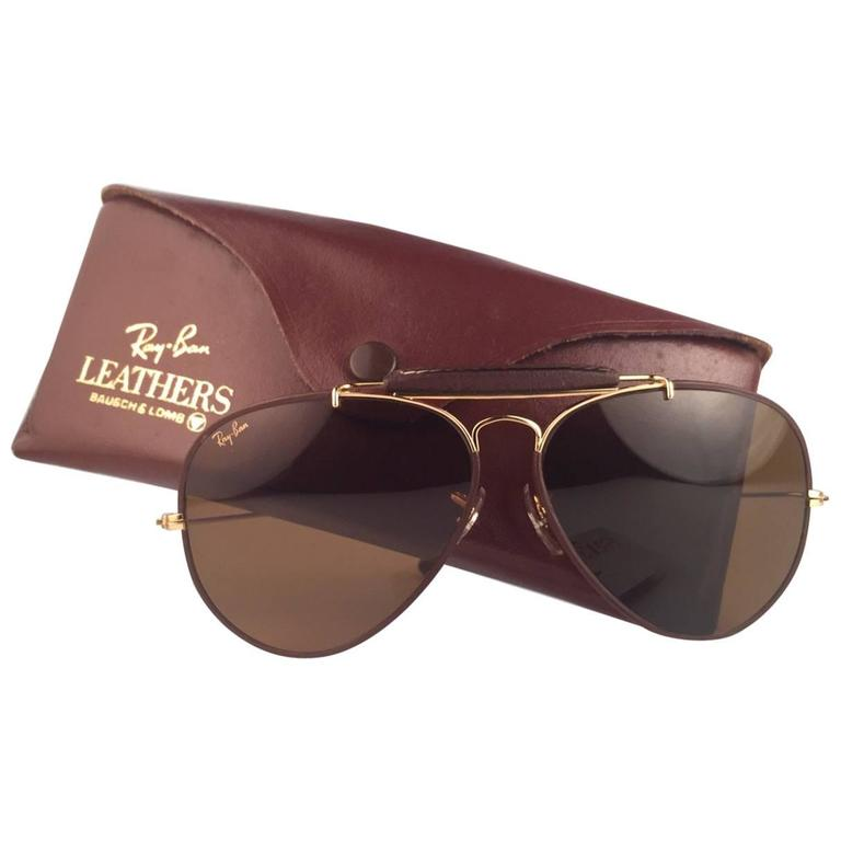 5c534147d1c9 New Ray Ban Leathers Brown Outdoorsman 62Mm B15 Lenses B L USA Sunglasses  For Sale
