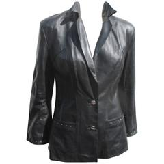 Pierre Cardin black leather jacket