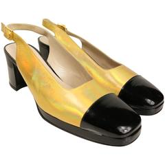 Chanel Bi Tone Metallic Gold with Black Patent Square Toe Mary Jane Slingback