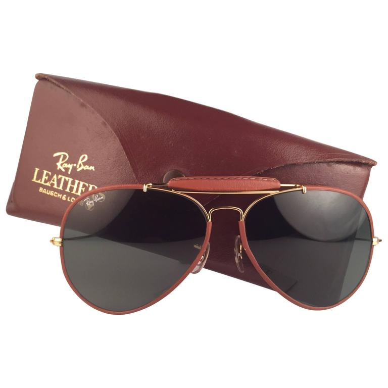 New Vintage Ray Ban Leathers Outdoorsman 62Mm G15 Sunglasses 1