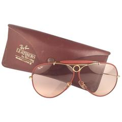 New Vintage Ray Ban Ostrich Leather Shooter 62Mm B&L Sunglasses