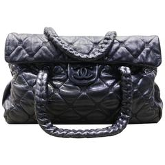 Chanel Black Quilted Lambskin Leather Double Straps Handbag