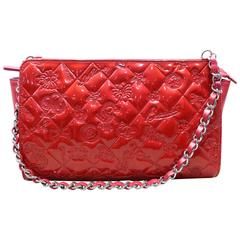Chanel Red Patent and Lamb Icon motif Porch Bag