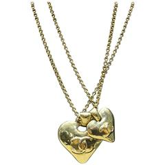 """Chanel Gold Toned """"CC"""" Double Heart, Double Chain Pendant Necklace"""