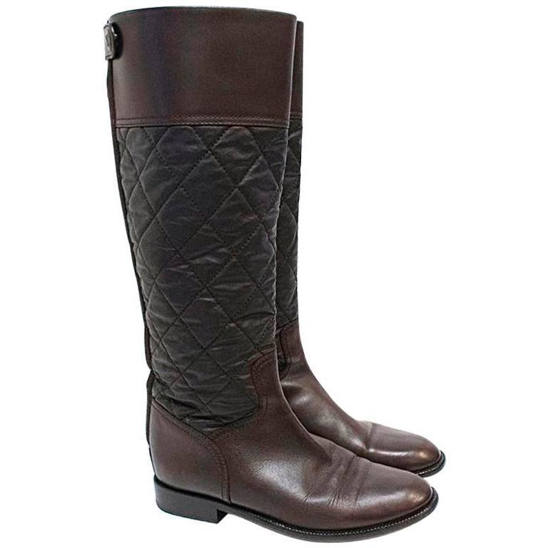 Chanel Brown Leather Quilted Long Boots  1