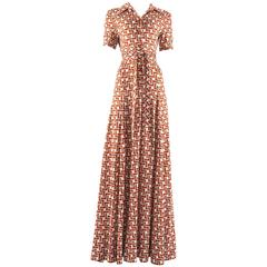Hermes 1970s novelty print jersey maxi dress