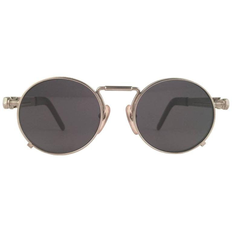 New Jean Paul Gaultier 56 8171 Round Gun Metal Silver Matte Frame 1990's Japan   For Sale