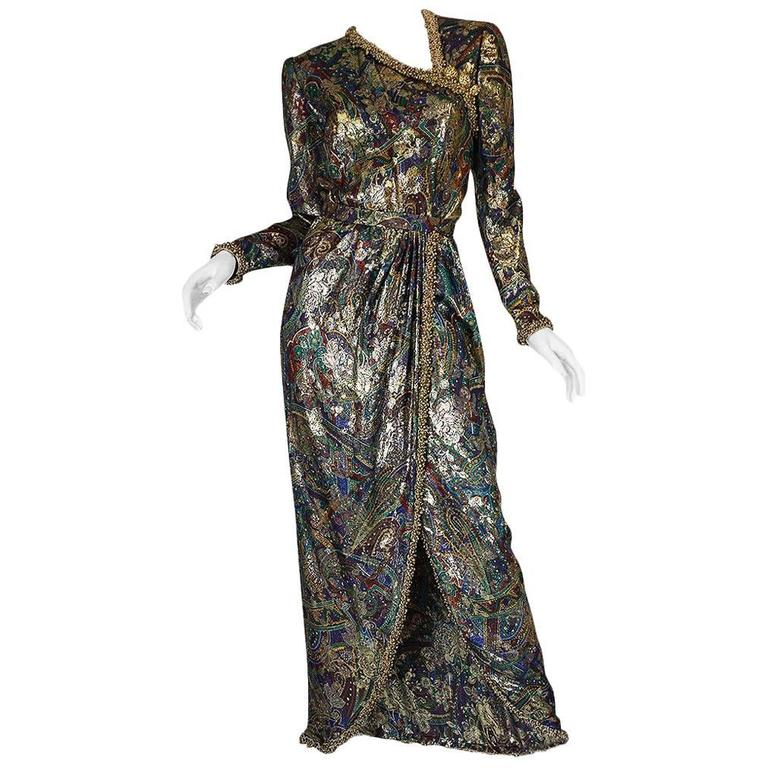 Unworn c1975 Oscar de la Renta Silk Metallic Dress with Bells 1