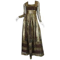 1970s Marc Bohan for Christian Dior Demi-Couture Metallic Dress
