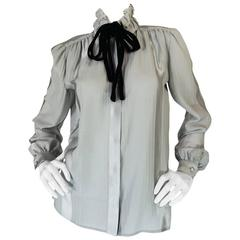 1970s Valentino Silver Grey Silk Top with Velvet Ties