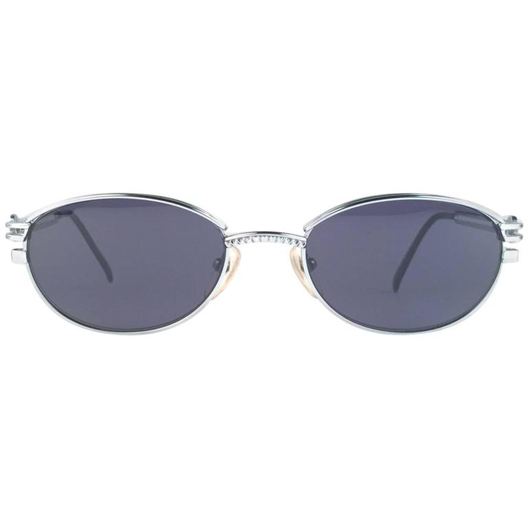 New Jean Paul Gaultier 58 6104 Silver Oval Grey Lenses JPG 1990's Japan  1