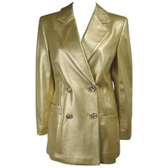 Escada Gold Leather Double Breasted Shimmering Blazer Jacket 1990s UK 38