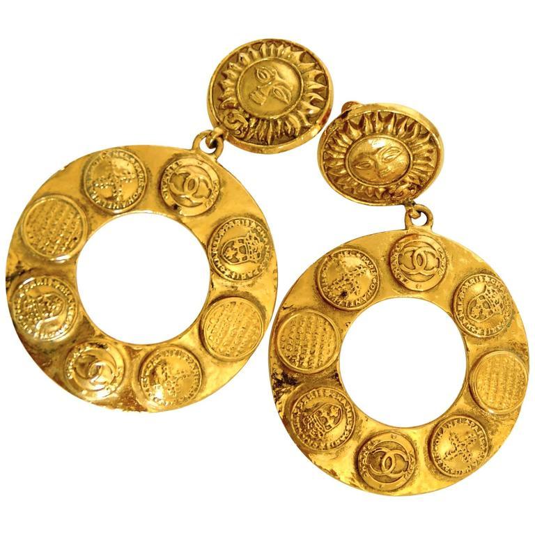 947ebcc3 Chanel Large Gold Hoop Earrings 3.5in Sun Motif CC Medallions Season 28 +  Box 90