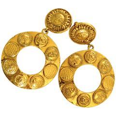 Chanel Large Gold Hoop Earrings 3.5in Sun Motif CC Medallions Season 28 + Box 90