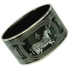 Hermes Enamel Bracelet Grand Apparat Extra Wide Silver Black 70 + Box 2014