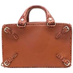 Celine Leather and Crocodile Embossed Trunket Bag