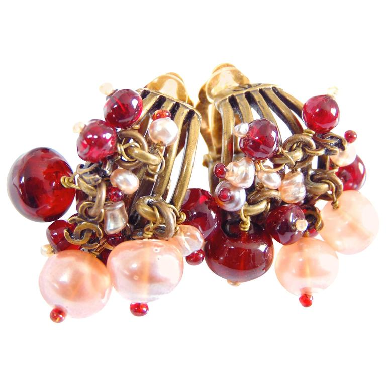 Chanel Torsade Earrings with CC Charms Glass Beads 00A Collection  For Sale