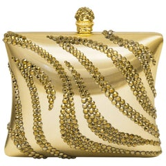 1980's Rodo Gold Embellished Hard Evening Clutch
