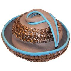 1960's Bonta Creatrice  Brown Linen & Straw Hat With Turquoise Details