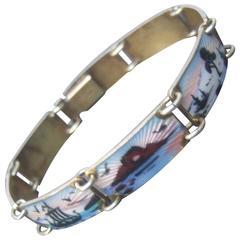 Norway Sterling Silver Guilloche Enamel Link Bracelet ca 1960