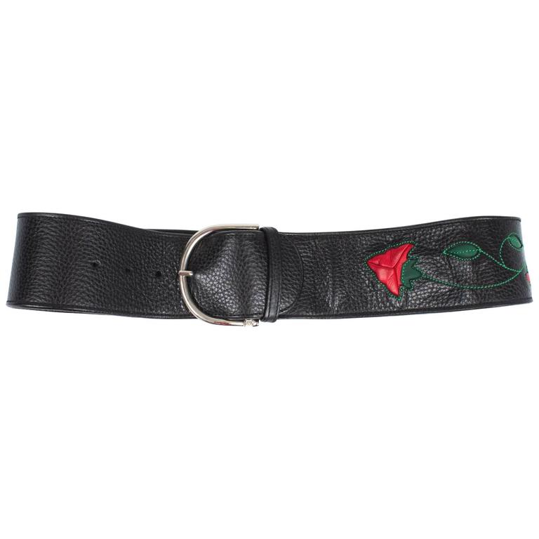 Gucci Belt Leather - black/red/green