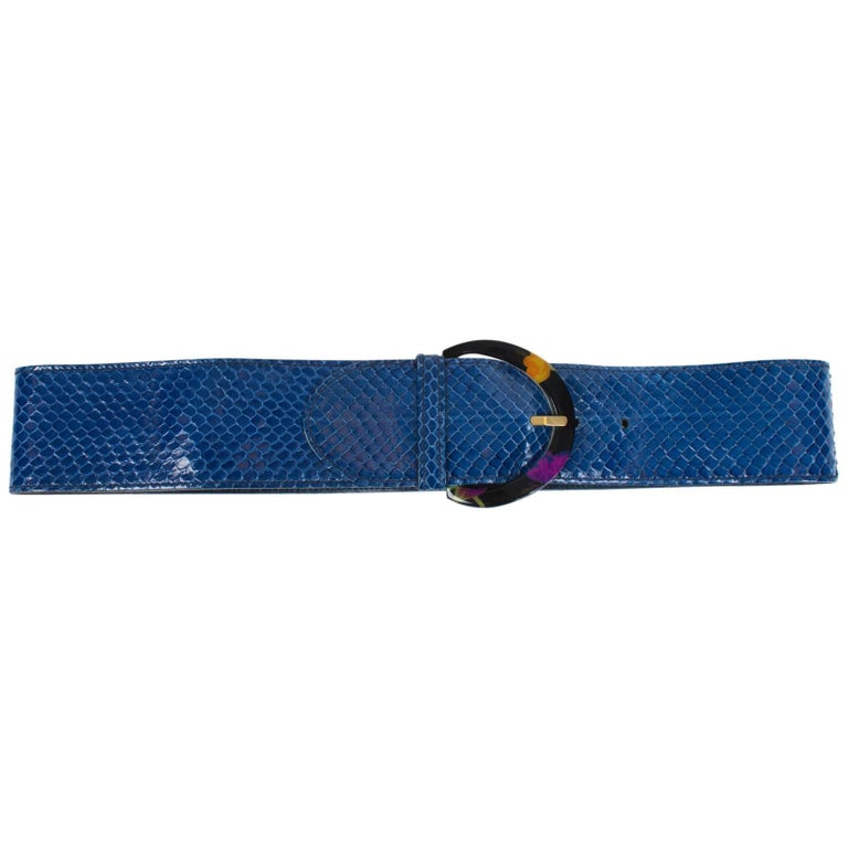 82ec3c630 Gucci Belt Python Leather - blue For Sale at 1stdibs