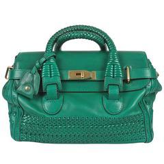 Gucci Medium Handmade Woven Double Handle Bag - green leather