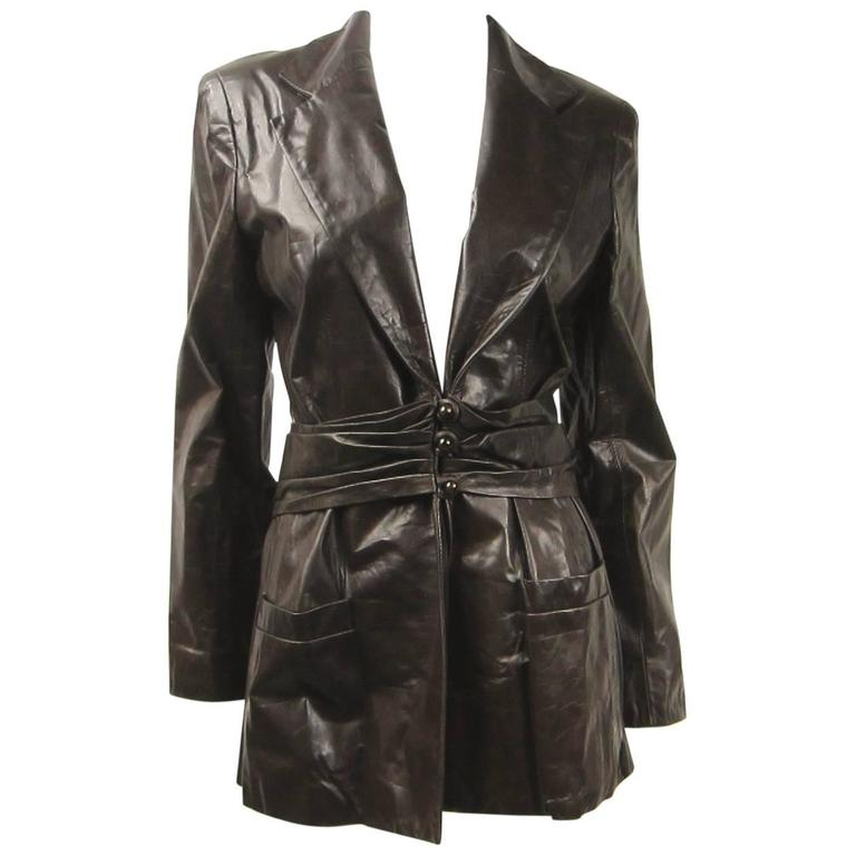 1990's Bill Blass Brown Leather Riding Blazer Jacket Never Worn