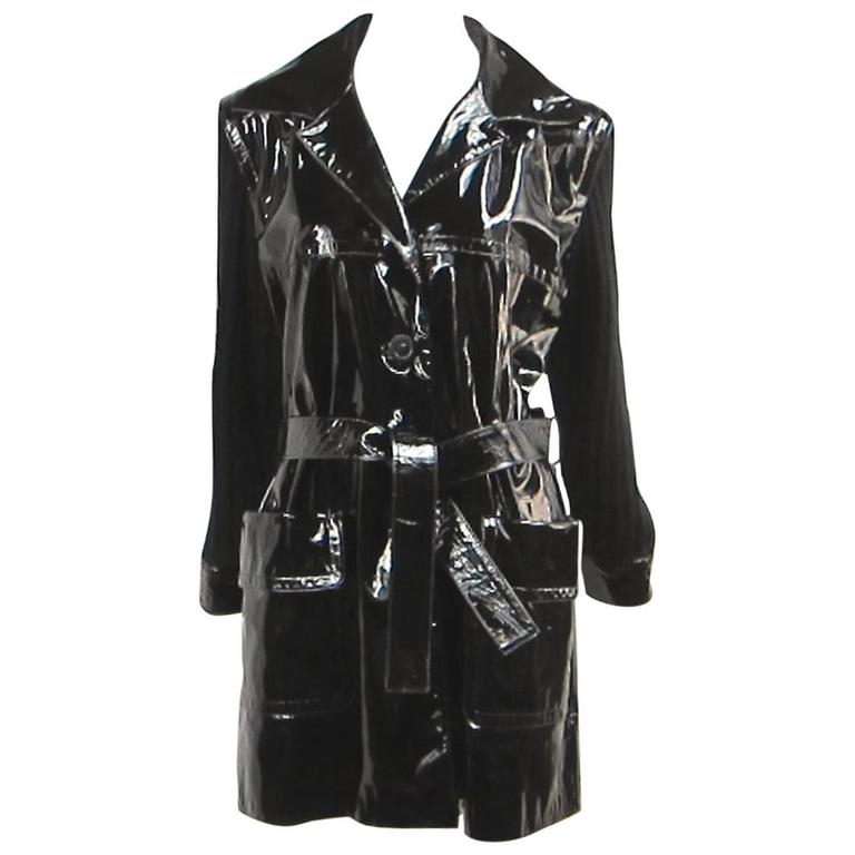 Yves Saint Laurent YSL Patent Leather and Wool Jacket 1990's