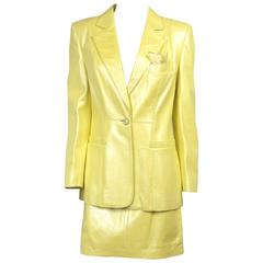 1990s ESCADA Pearl YELLOW Leather JACKET & SKIRT New old stock