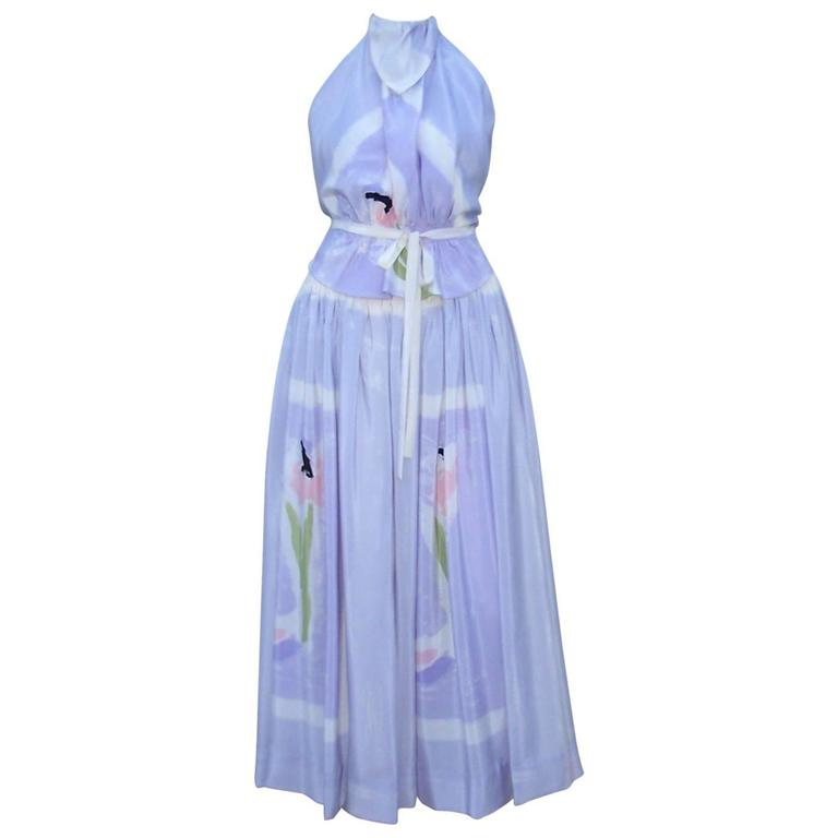 Lovely 1970's Michaele Vollbracht Pastel Silk Halter Dress With Wrap For Sale
