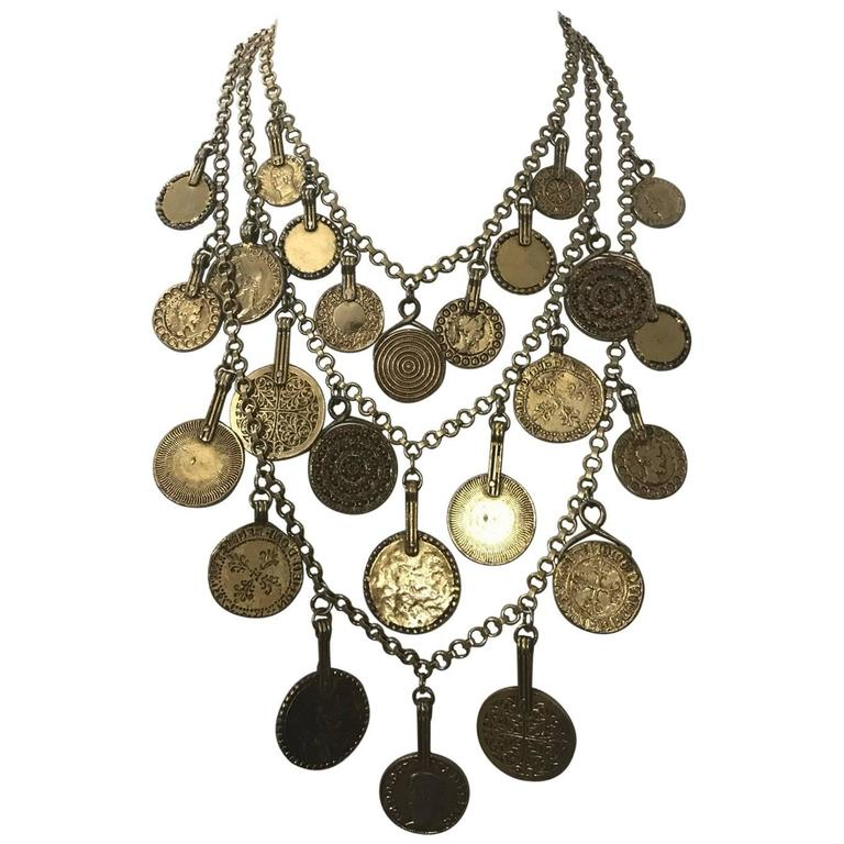 Yves Saint Laurent 1977 Gypsy Collection Gold Tone Coin Medallion Necklace 1